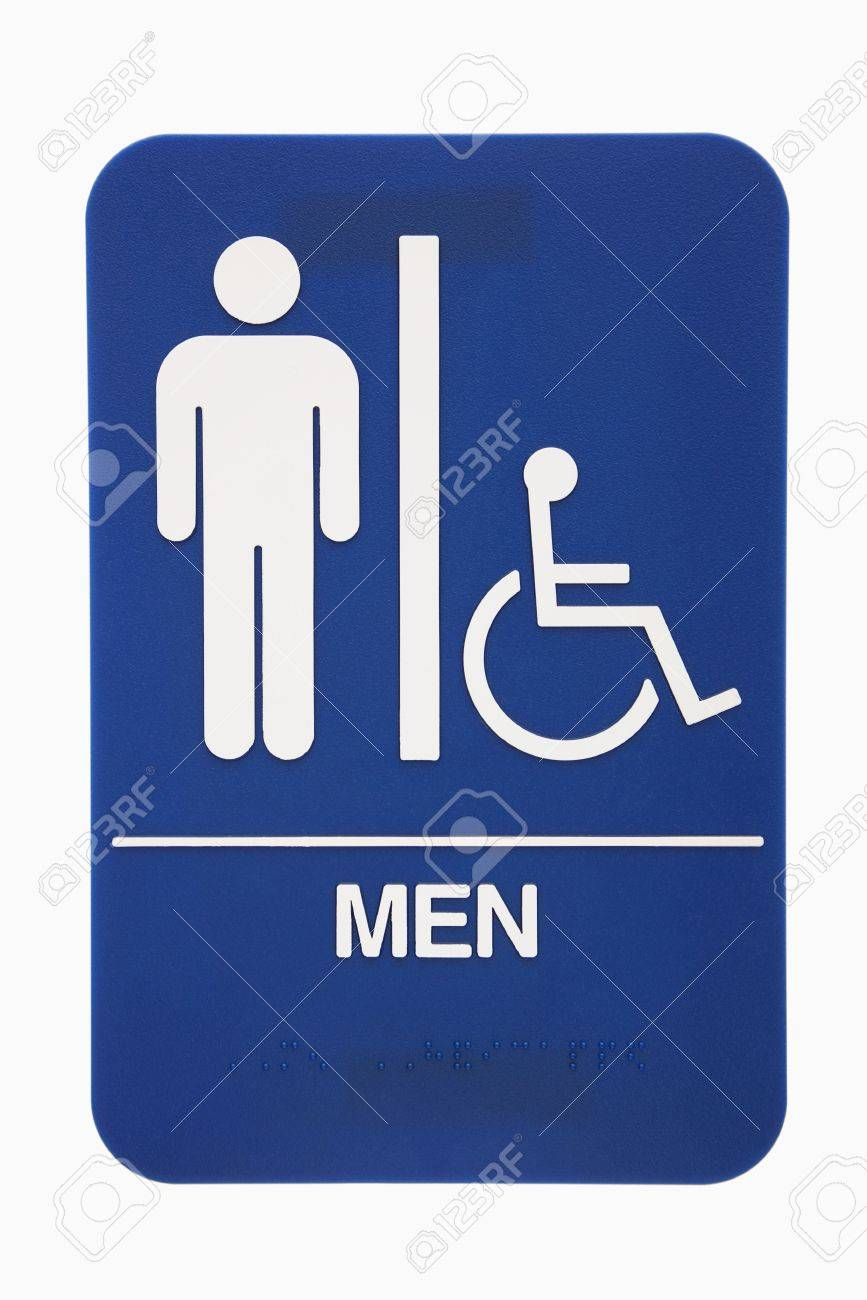 Men restroom sign with handicap access on white background. Stock Photo - 2043634