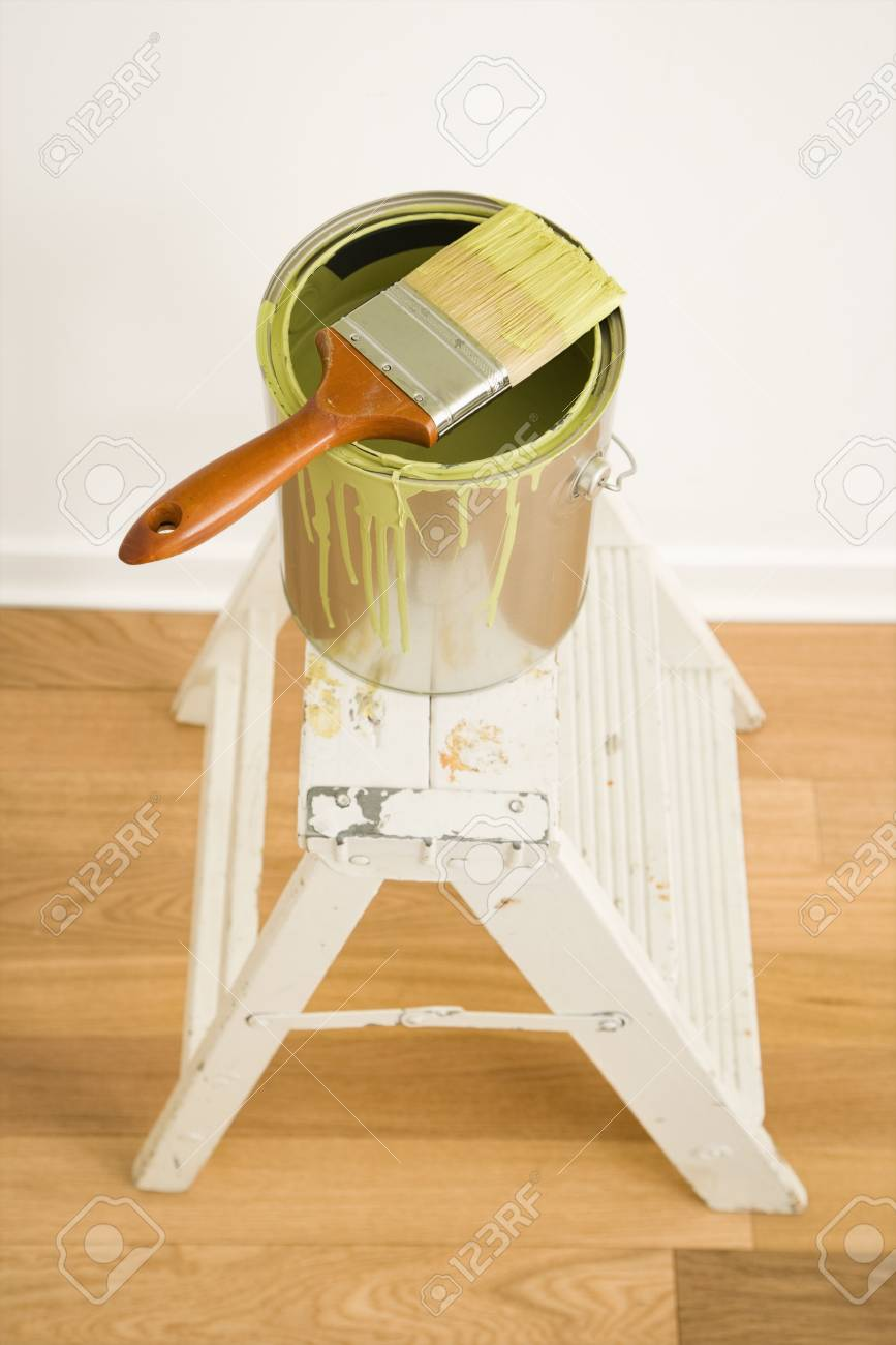 High angle view of paintbrush on can on top of step ladder. Stock Photo - 2043882