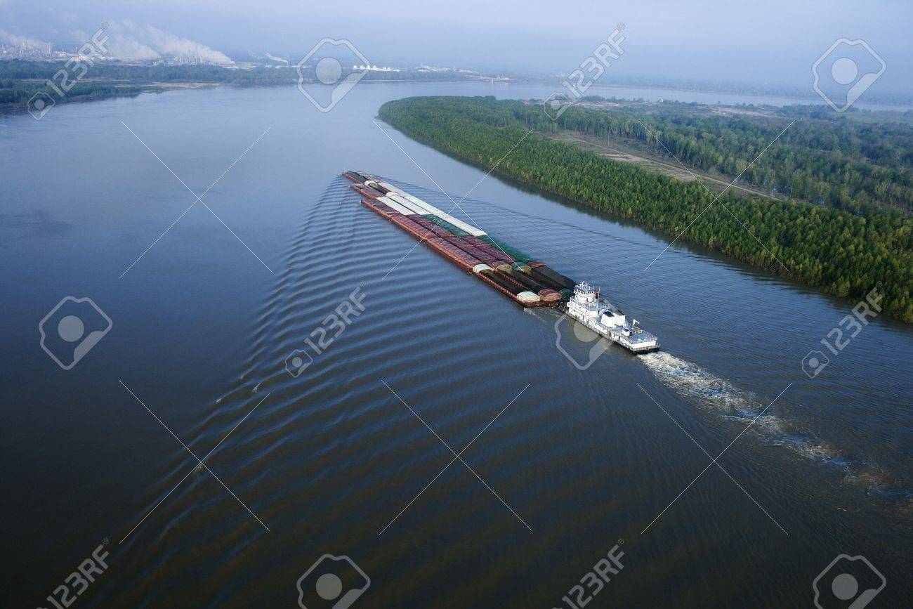 Aerial of barge on Mississippi River in Baton Rouge, Louisiana. Stock Photo - 2095814