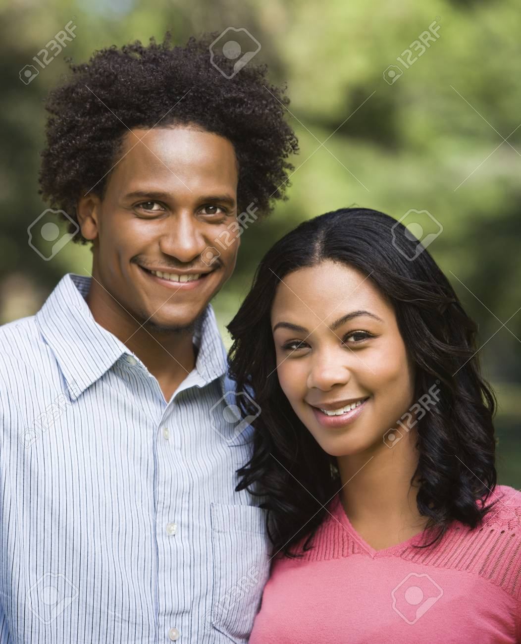 Head and shoulder portrait of smiling couple in park. Stock Photo - 2115348