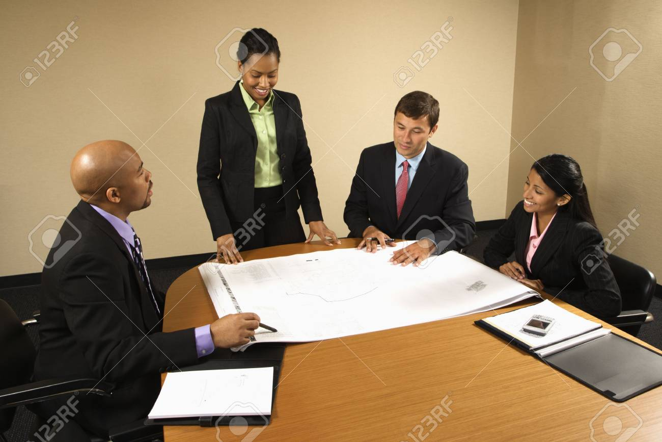 Businesspeople having meeting at conference table. Stock Photo - 2115297