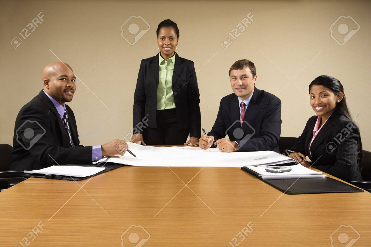 Businesspeople having meeting at conference table. Stock Photo - 2115262