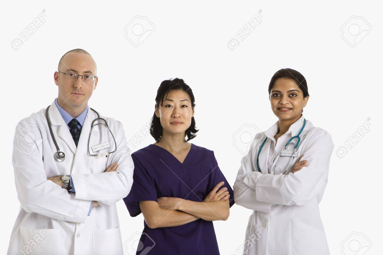 Caucasian mid adult male physician with Asian and Indian women doctors. Stock Photo - 2191286