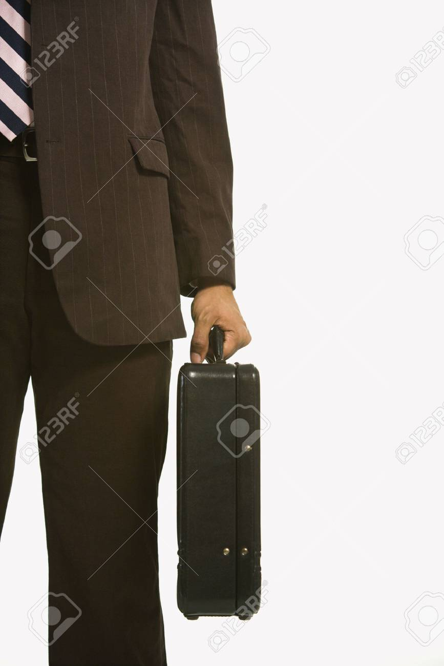 African American businessman in suit holding briefcase. Stock Photo - 2176242