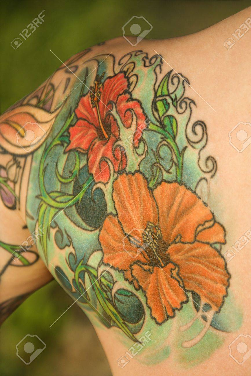 Close up of floral tattoo on shoulder of caucasian woman stock close up of floral tattoo on shoulder of caucasian woman stock photo 2174147 izmirmasajfo