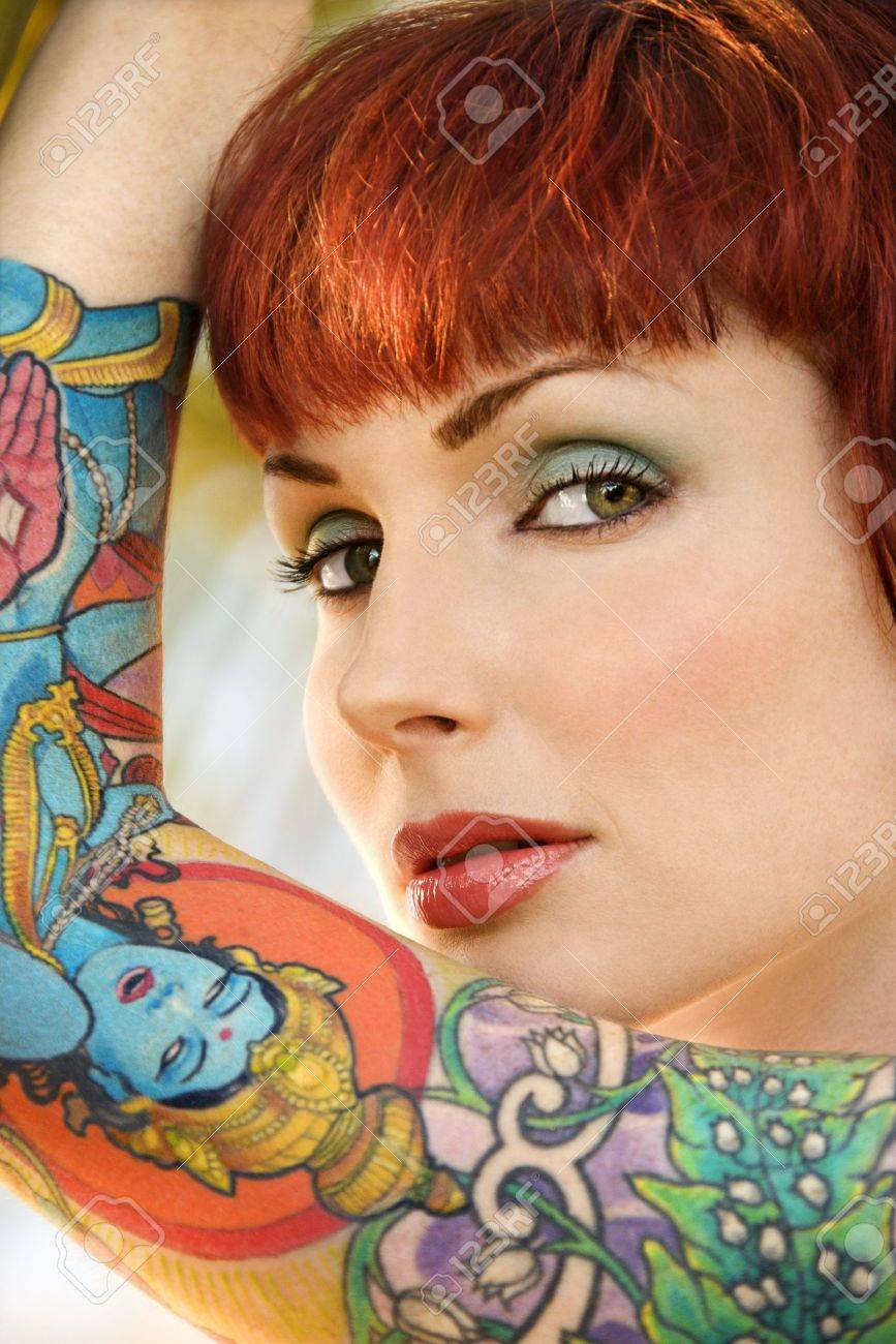 Close up portrait of attractive tattooed Caucasian woman in Maui, Hawaii, USA. Stock Photo - 2189573