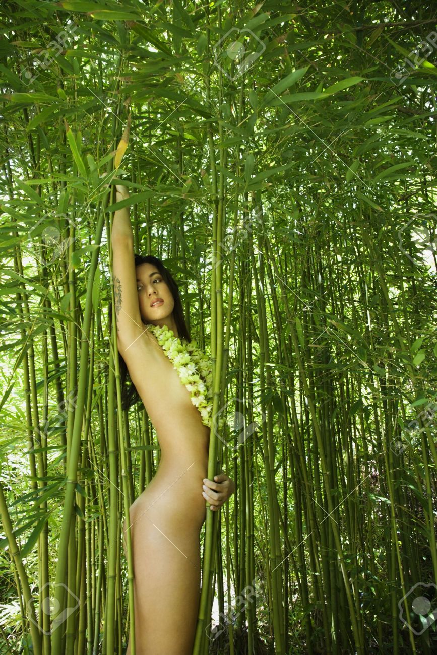 young nudist naked forest Nude young adult woman standing in bamboo forest wearing lei. Stock Photo -  2187794