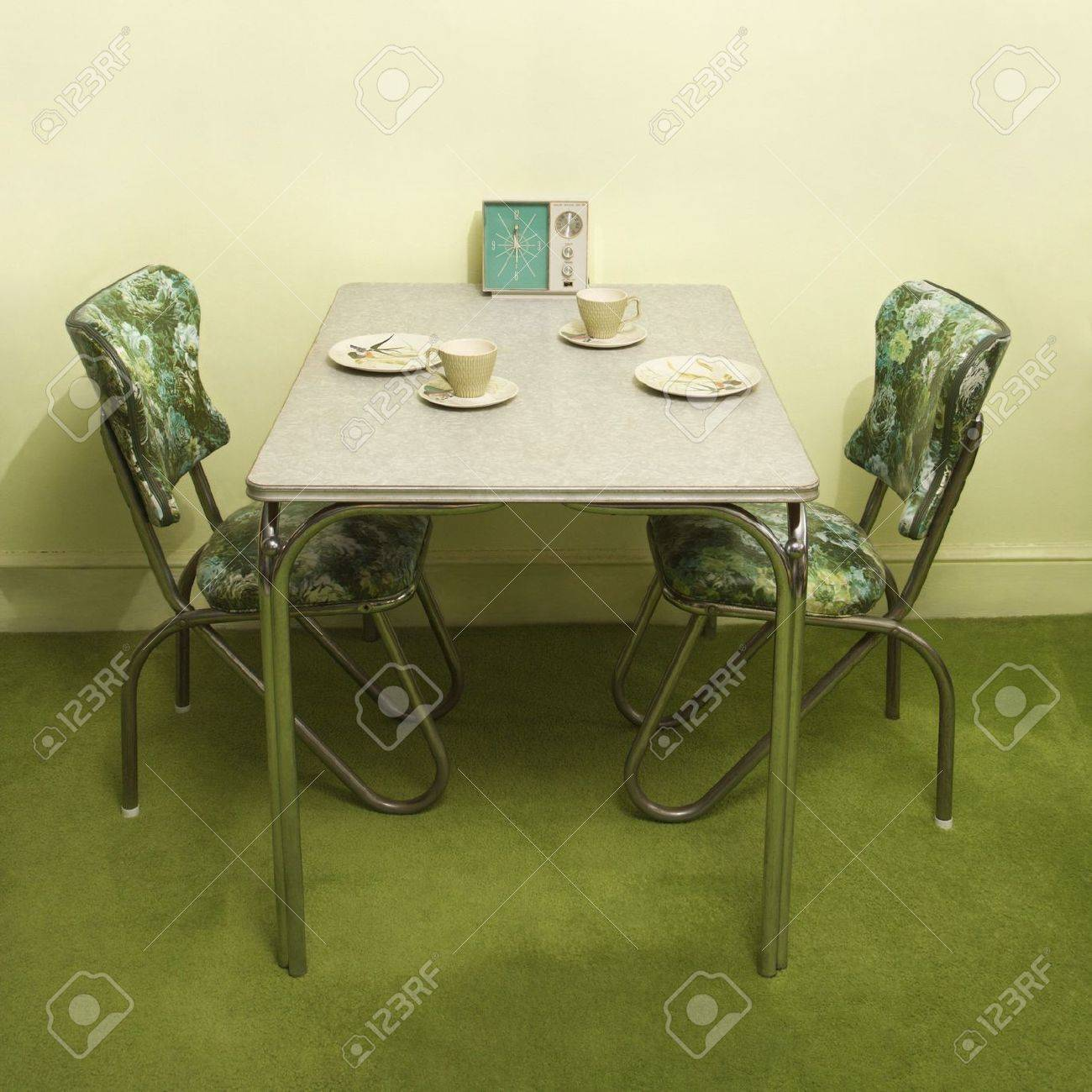 Chrome Dinette Chairs retro 50's formica and chrome dinette set with green vinyl chairs