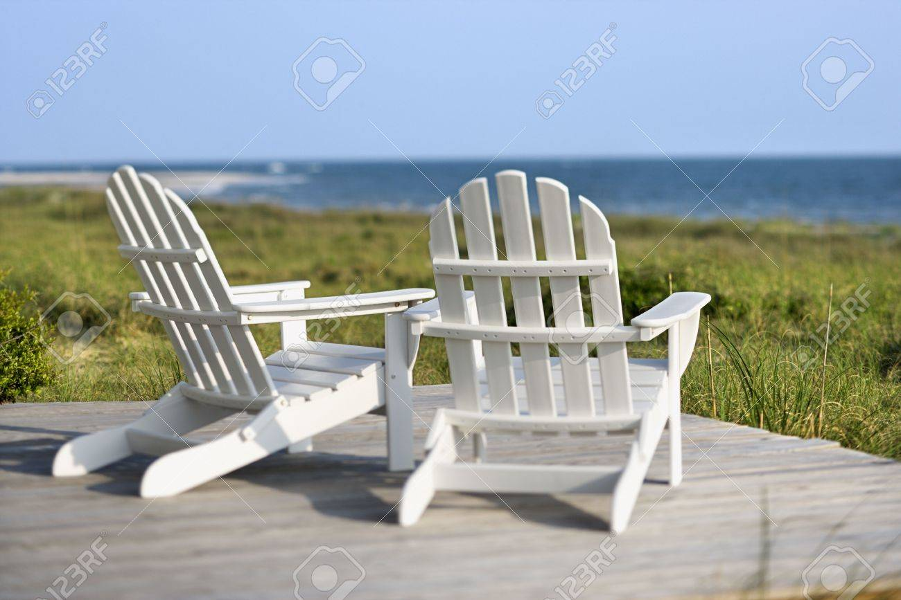 Merveilleux Adirondack Chairs On Deck Looking Towards Beach On Bald Head Island, North  Carolina. Stock