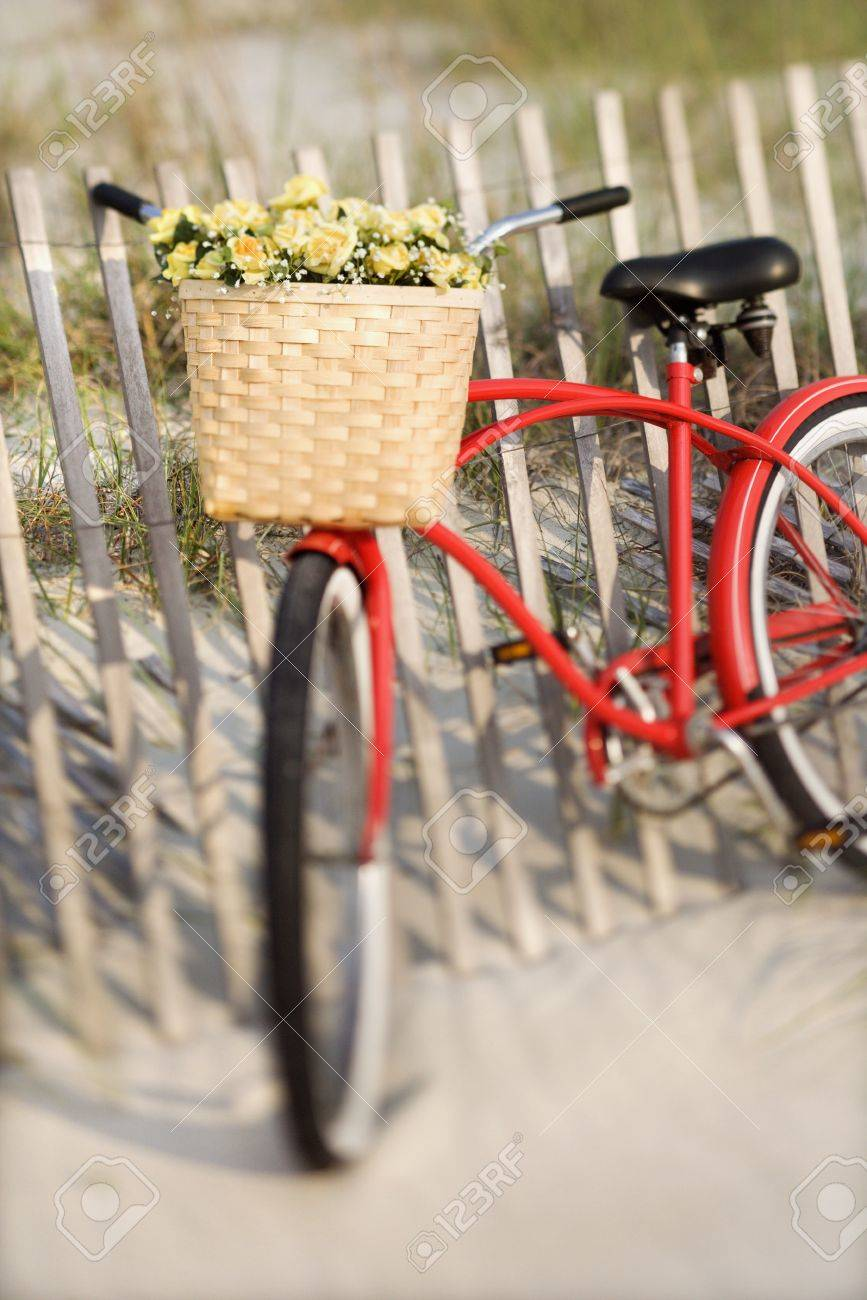 Red vintage bicycle with basket and flowers leaning against wooden fence at beach. Stock Photo - 2232395