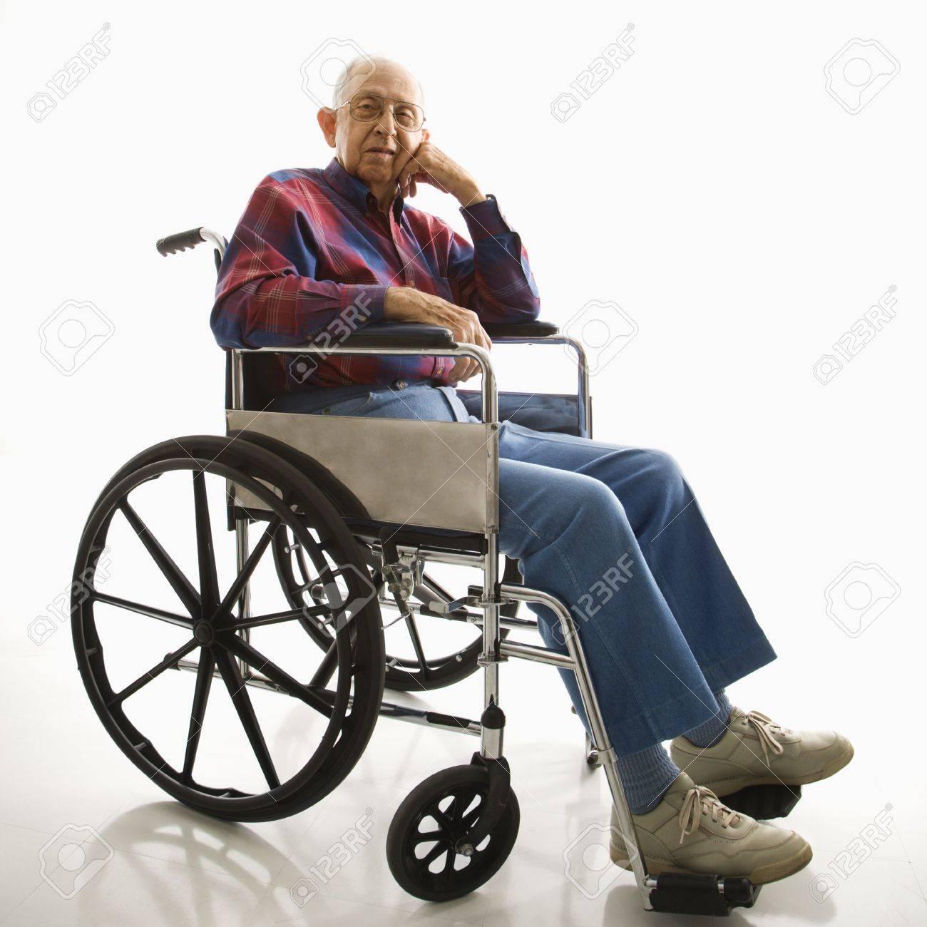Portrait of Caucasion elderly man sitting in wheelchair. Stock Photo - 2425941