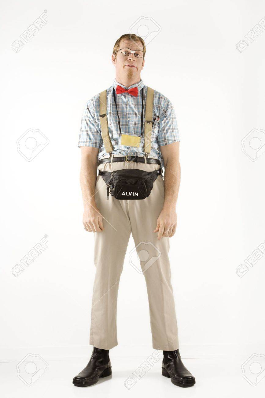 Caucasian young man dressed like nerd looking at viewer. Stock Photo - 2376159
