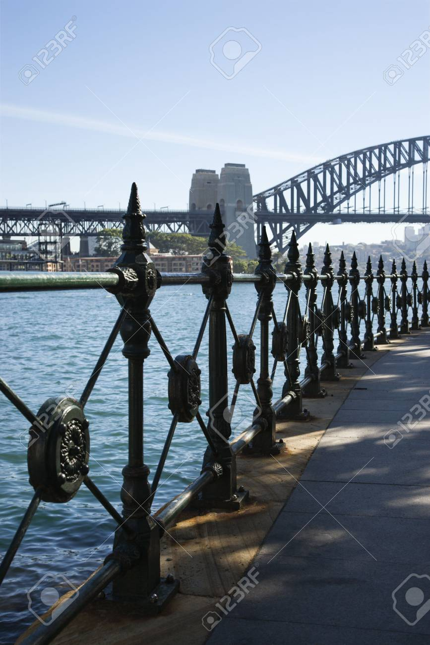 View from walkway of Sydney Harbour Bridge and water in Sydney, Australia. Stock Photo - 2655158