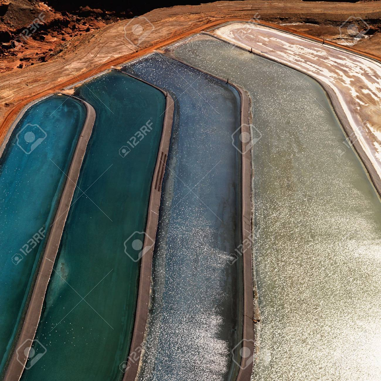 Aerial detail of tailing ponds for mineral waste in rural Utah, United States. Stock Photo - 3584597