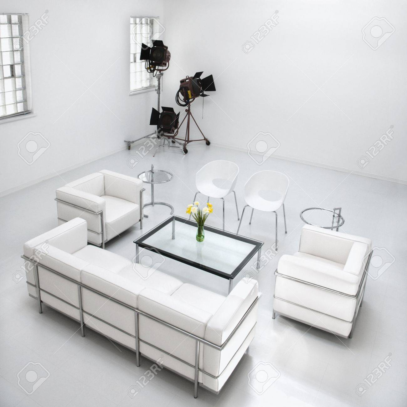 White Living Room Furniture In A White Photography Studio With ...
