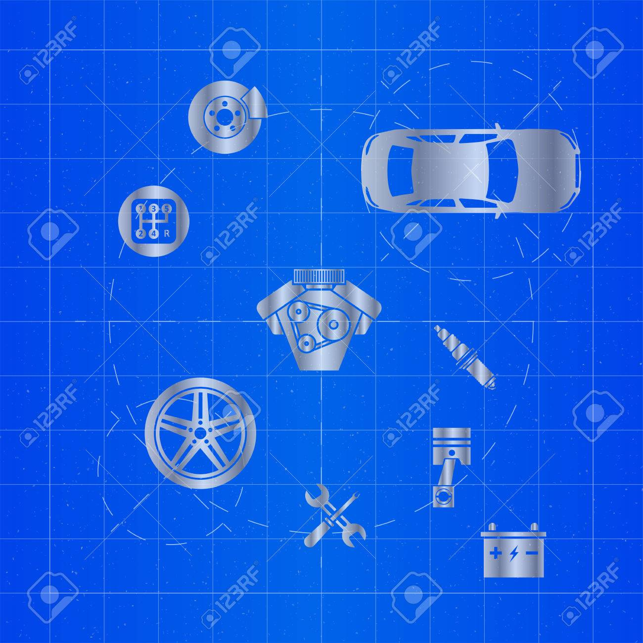 Car parts icons on blueprint royalty free cliparts vectors and car parts icons on blueprint stock vector 84919851 malvernweather