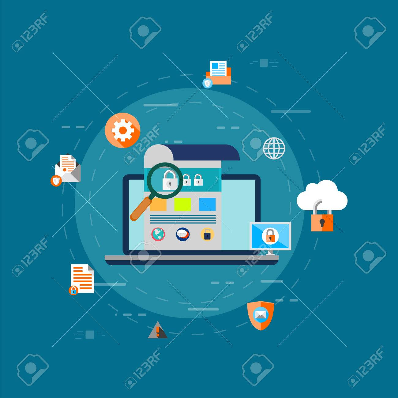 Data Protection, privacy, and internet security flat vector concept Banque d'images - 85018490
