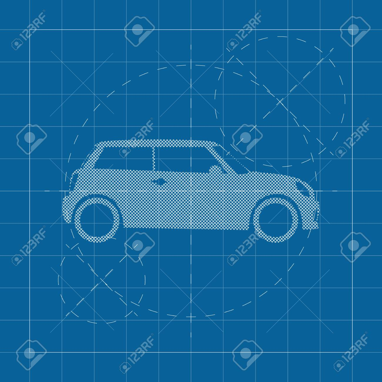 Modern Car On Blueprint Royalty Free Cliparts, Vectors, And Stock ...