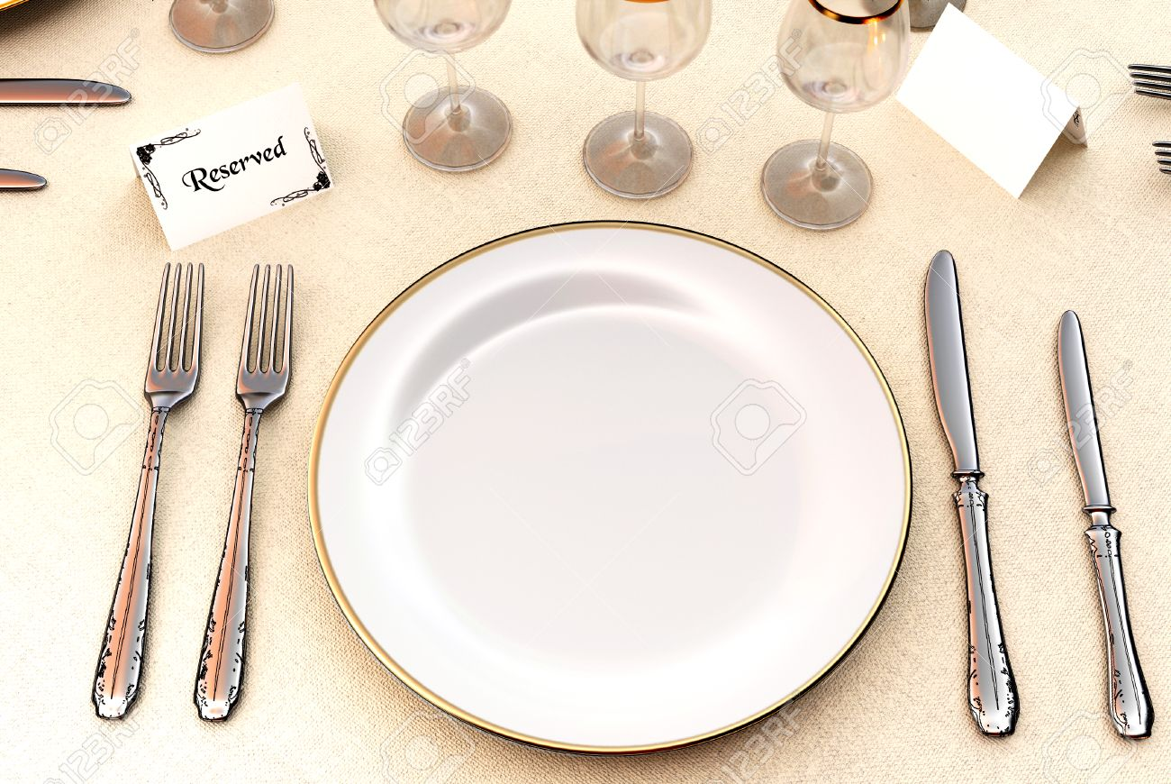 Restaurant table setup - Setup Restaurant Table With Wine Glasses And Cutlery Stock Photo 26827347