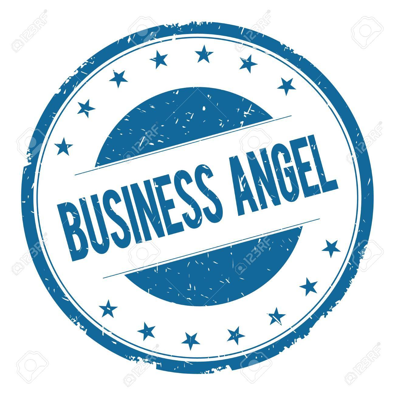 BUSINESS ANGEL Stamp Sign Text Word Logo Blue Stock Photo
