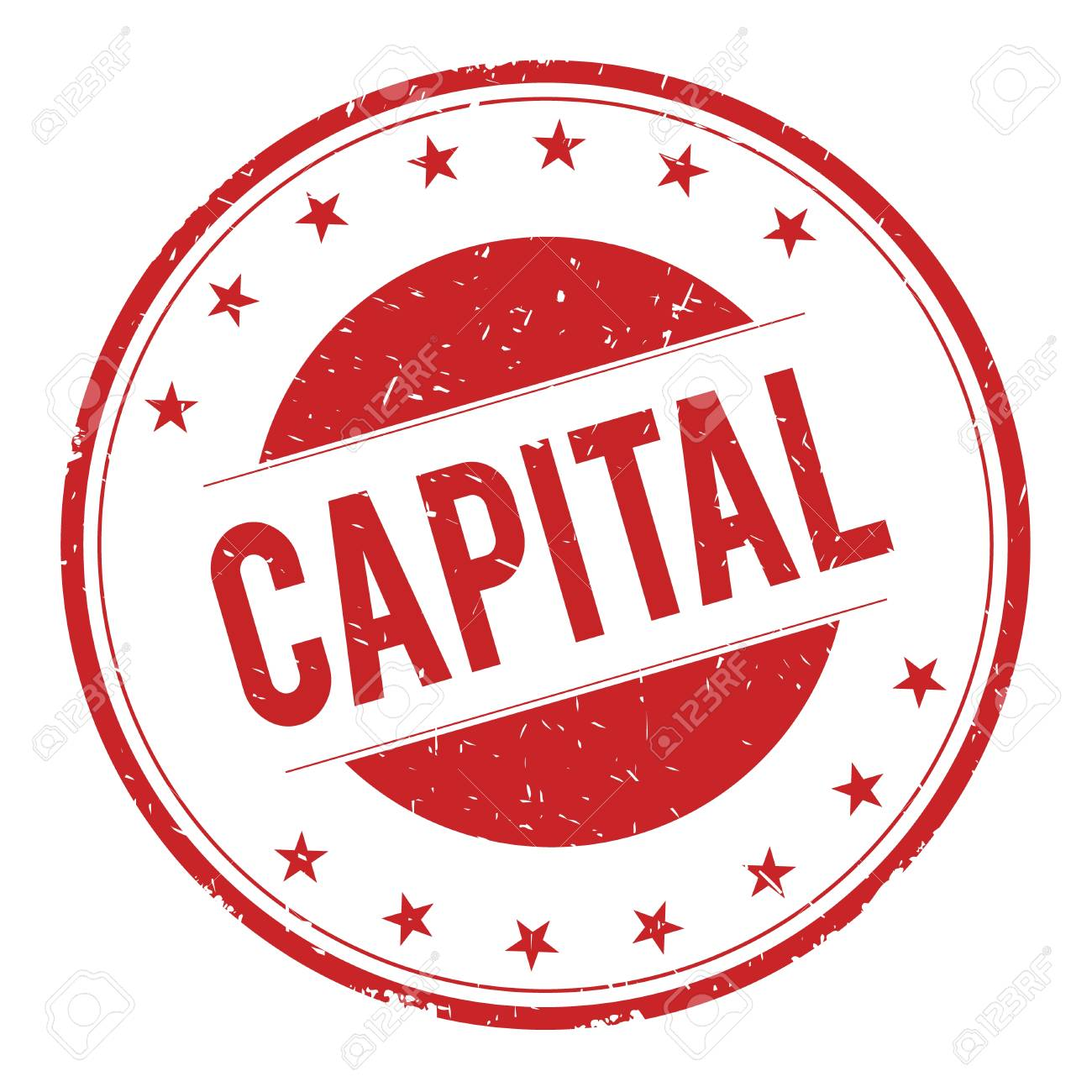 CAPITAL Stamp Sign Text Word Logo Red Stock Photo