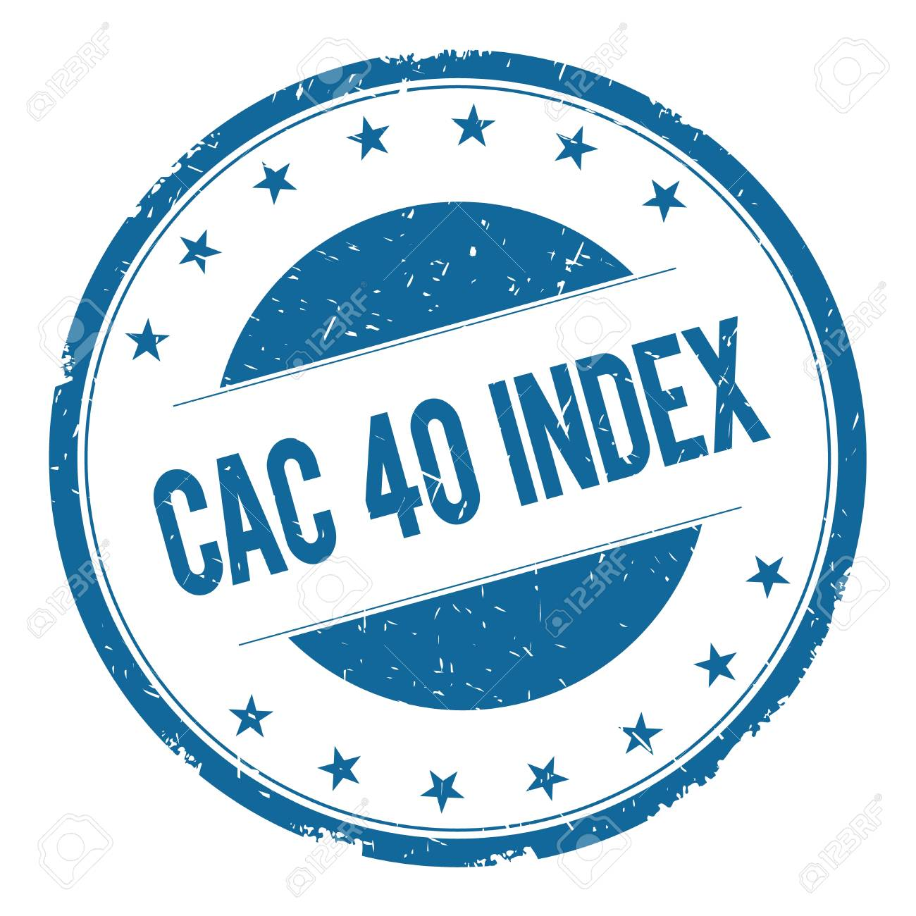 CAC 40 INDEX Stamp Sign Text Word Logo Blue Stock Photo