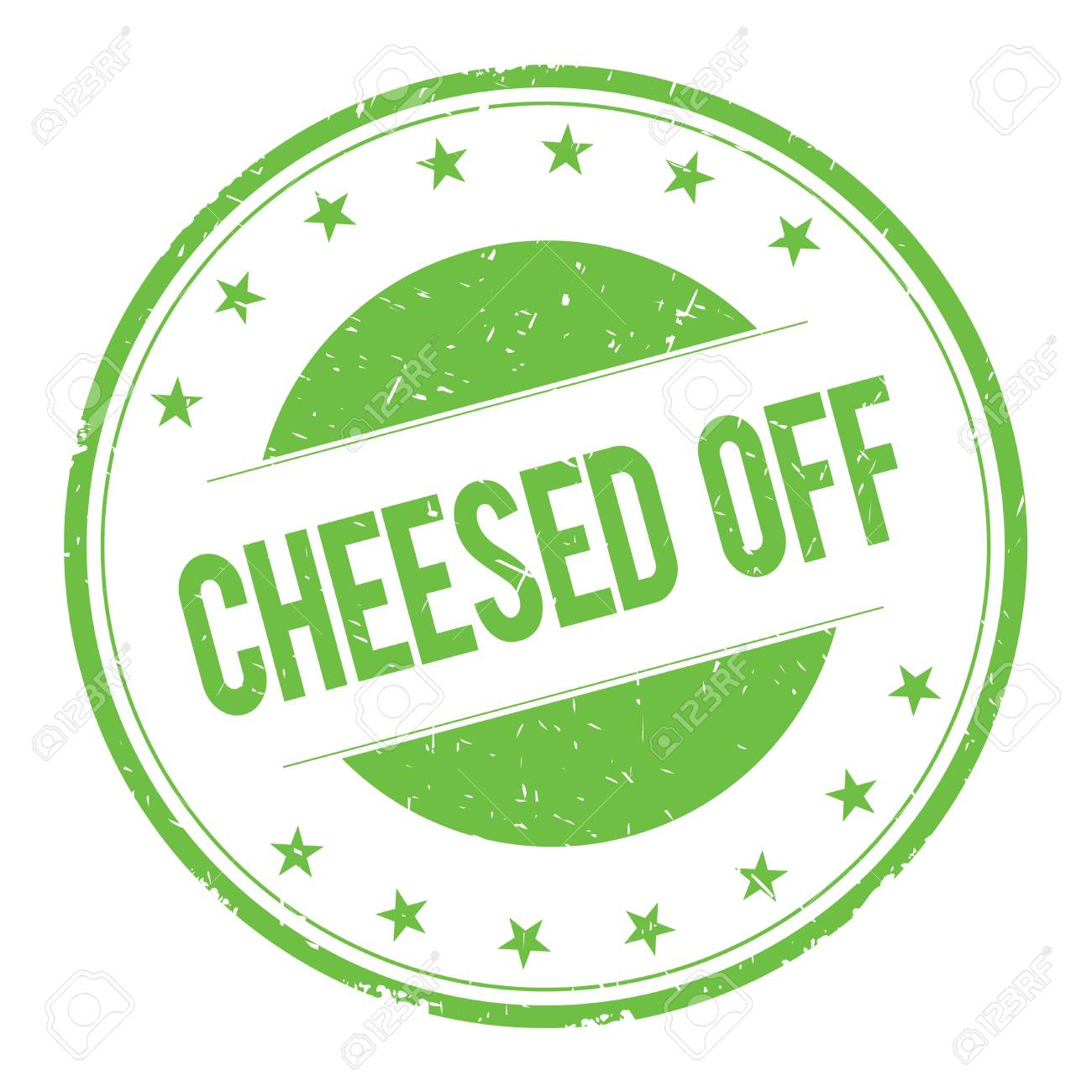 cheesed off stamp sign text word logo green stock photo 67603068
