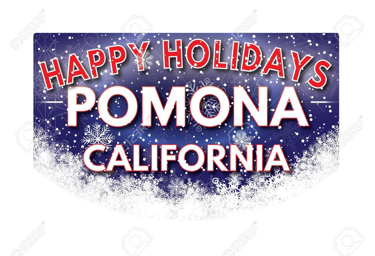 Pomona California Happy Holidays Greeting Card Stock Photo Picture