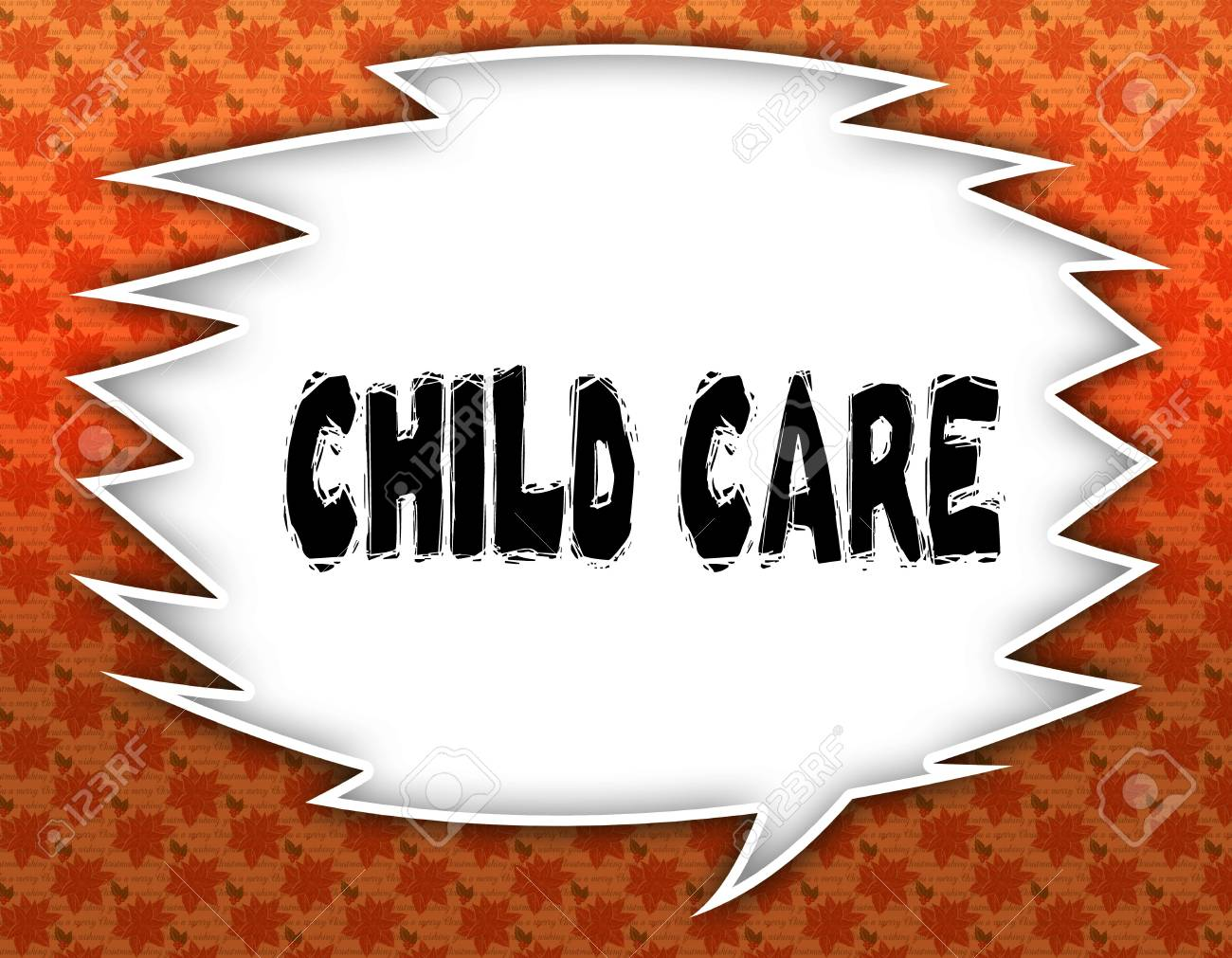 Speech Balloon With Child Care Text Flowery Wallpaper Background Stock Photo Picture And Royalty Free Image Image 92874198