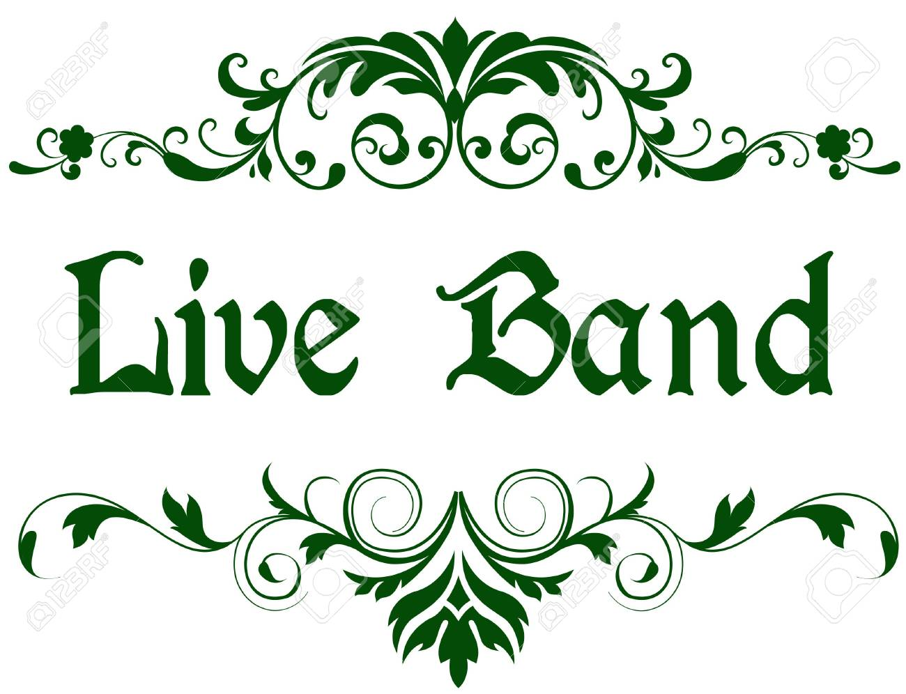 Green Frame With LIVE BAND Text. Illustration Image Concept Stock ...
