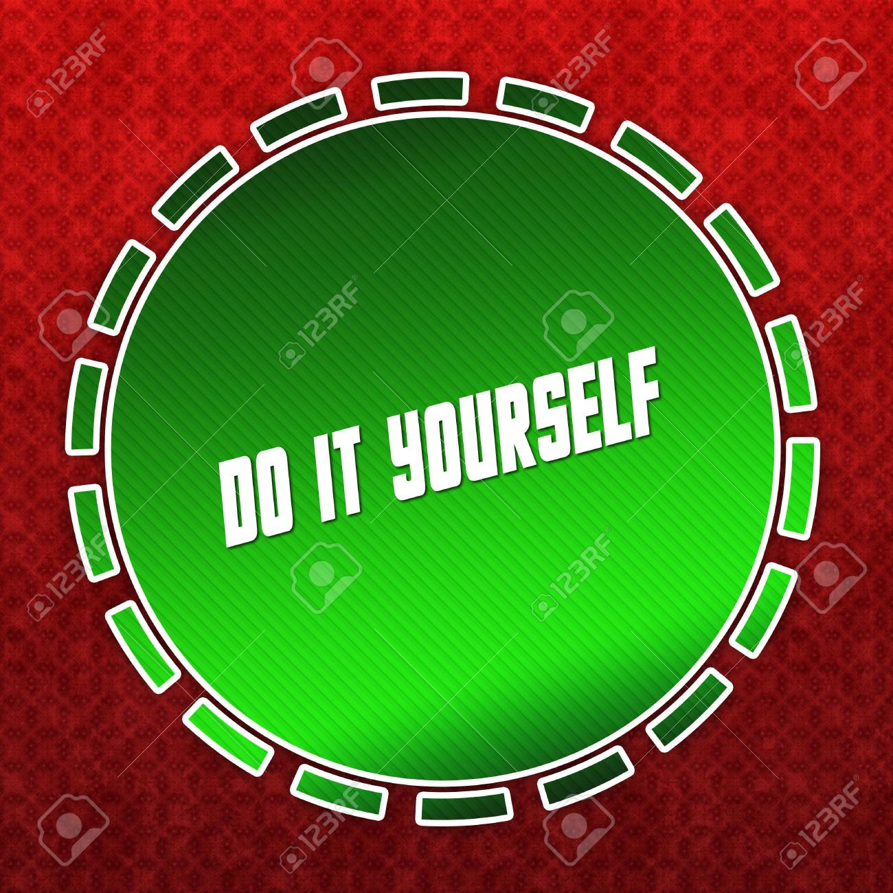 Green do it yourself badge on red pattern background illustration green do it yourself badge on red pattern background illustration stock illustration 94052140 solutioingenieria Image collections