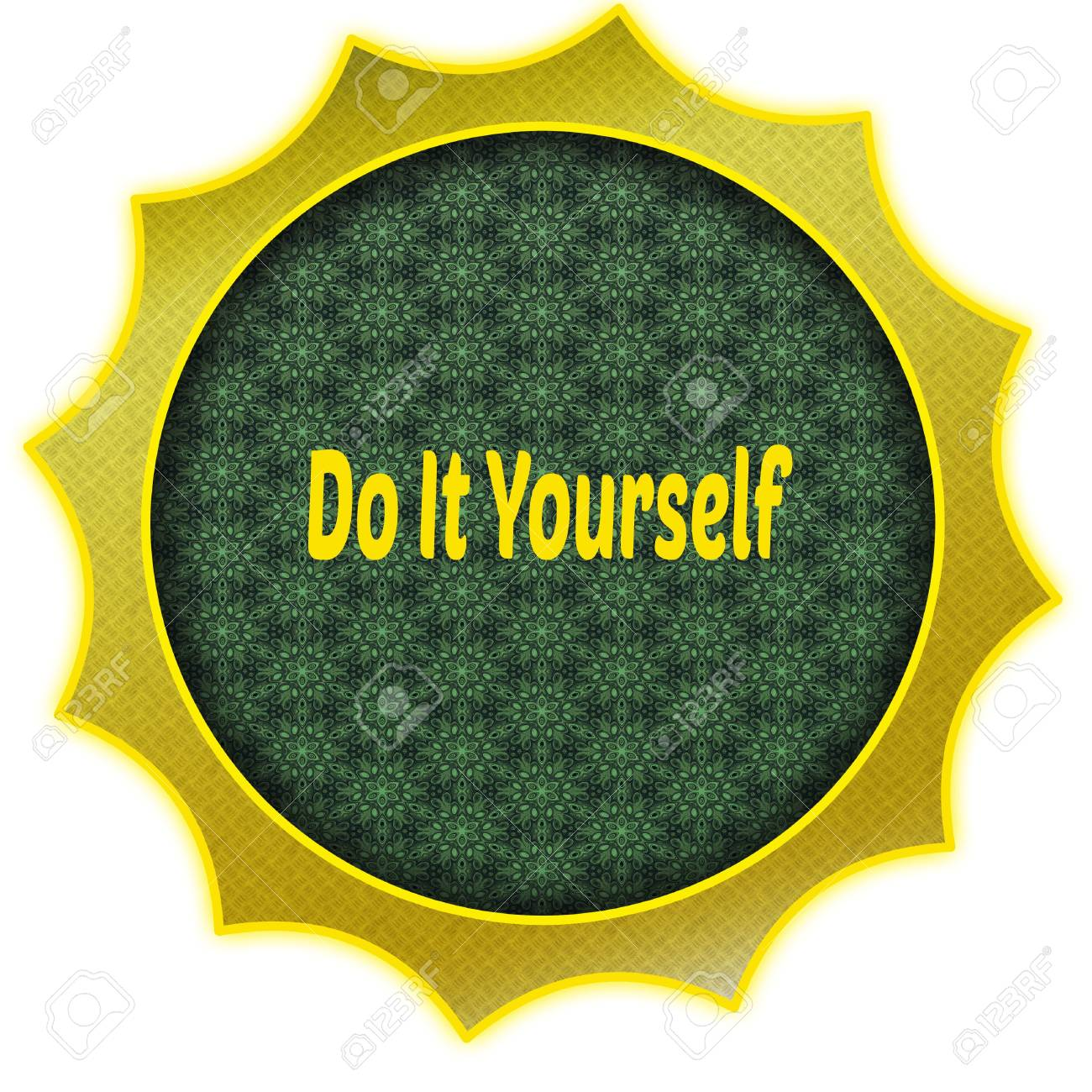 Golden badge with do it yourself text illustration graphic design golden badge with do it yourself text illustration graphic design concept image stock illustration solutioingenieria Image collections