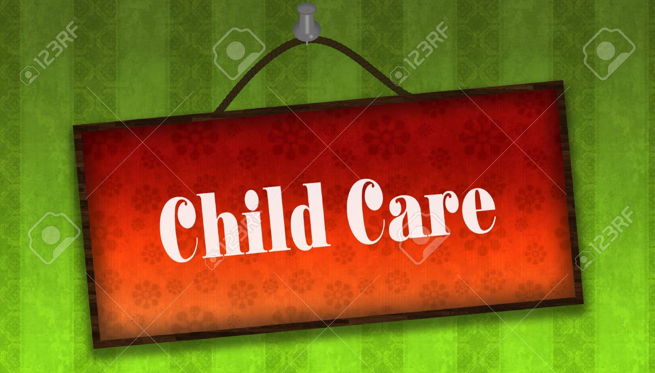 Child Care Text On Hanging Orange Board Green Striped Wallpaper Stock Photo Picture And Royalty Free Image Image 94053535