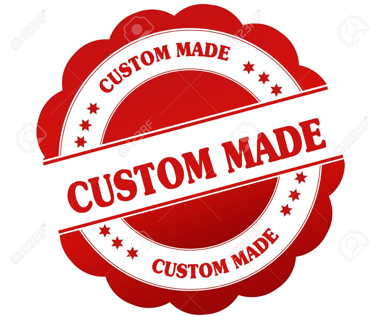 CUSTOM MADE Red Round Rubber Stamp Illustration Graphic Concept Stock