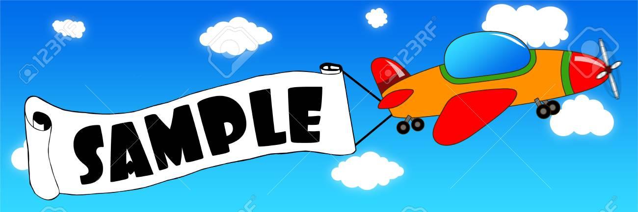 Aviao De Desenhos Animados E Banner Com Texto De Amostra Em Um
