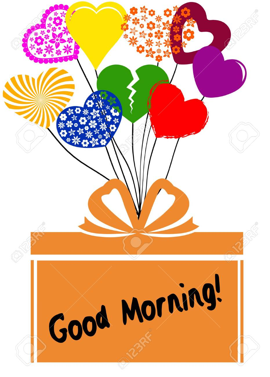 GOOD MORNING On Gift Box With Multicoloured Hearts. Illustration.. Stock  Photo, Picture And Royalty Free Image. Image 99785405.