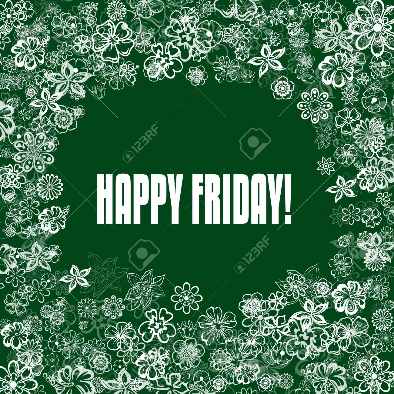 Happy Friday On Green Banner With Flowers Illustration Image