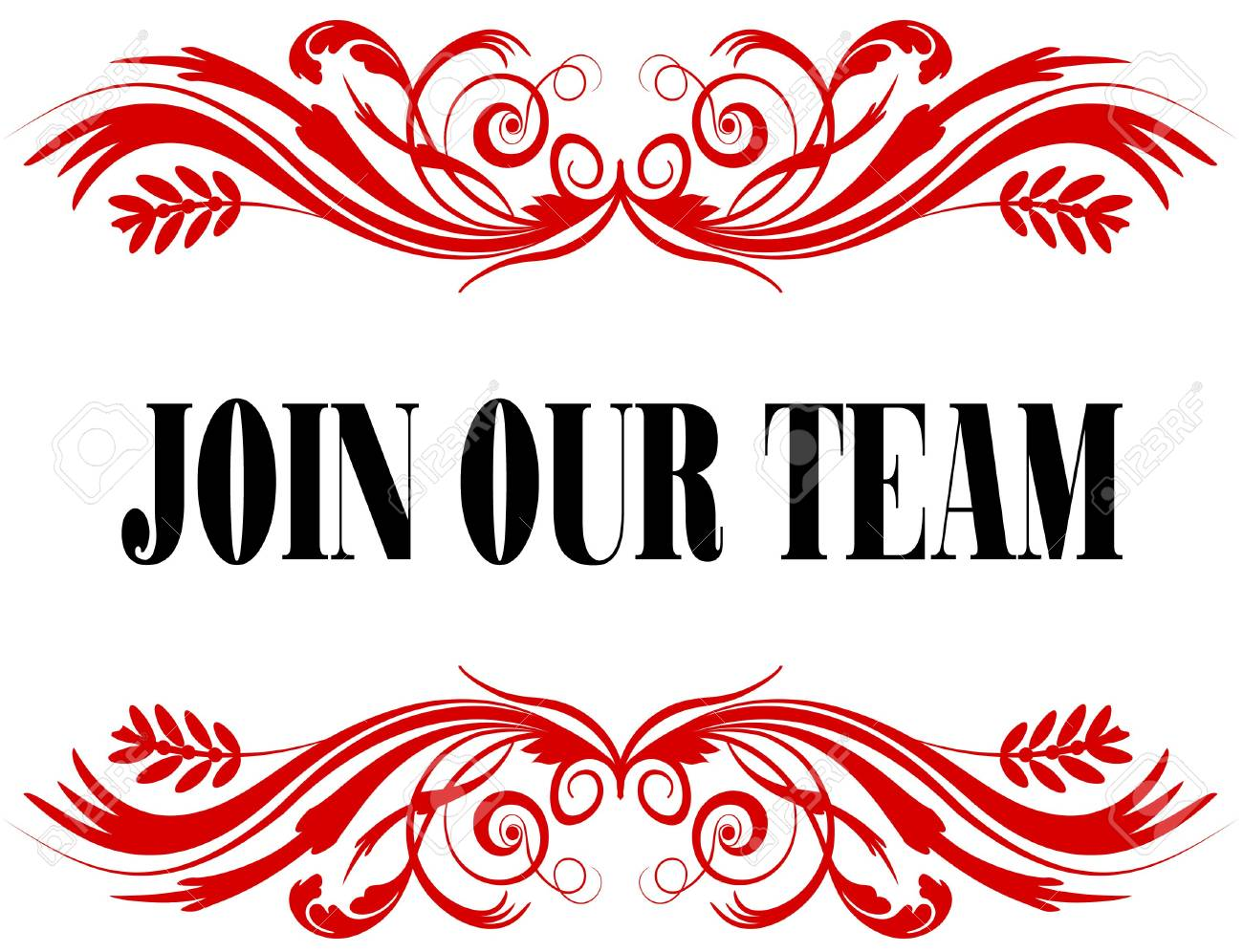 JOIN OUR TEAM Red Floral Text Frame. Illustration Concept Stock ...