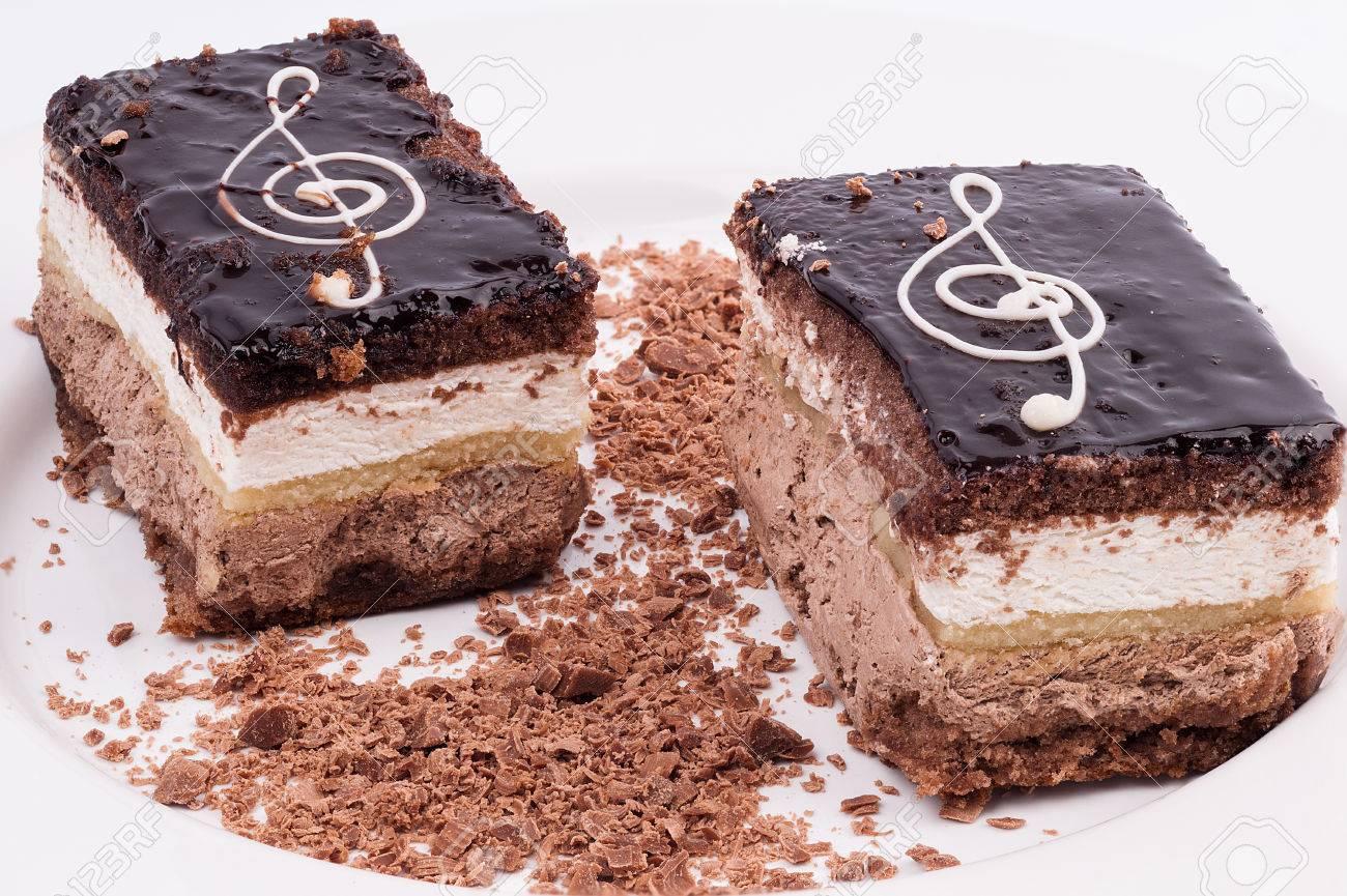 Zwei Schokolade Und Schlagsahne Kuchen Mit Sol Taste Und