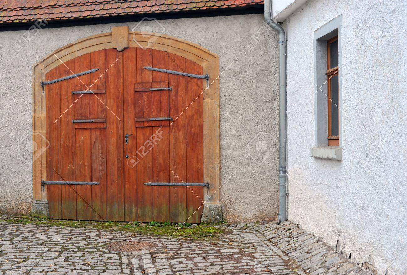 Old Wooden Gate With Windows In Germany Europe