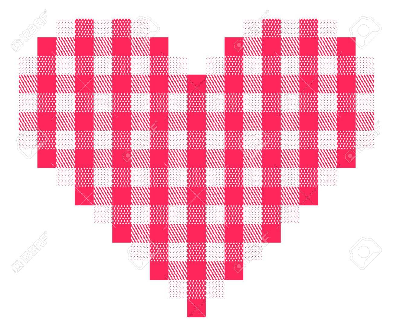 Checkered heart with traditional pattern in pinkish red and white. Stock Photo - 8030768