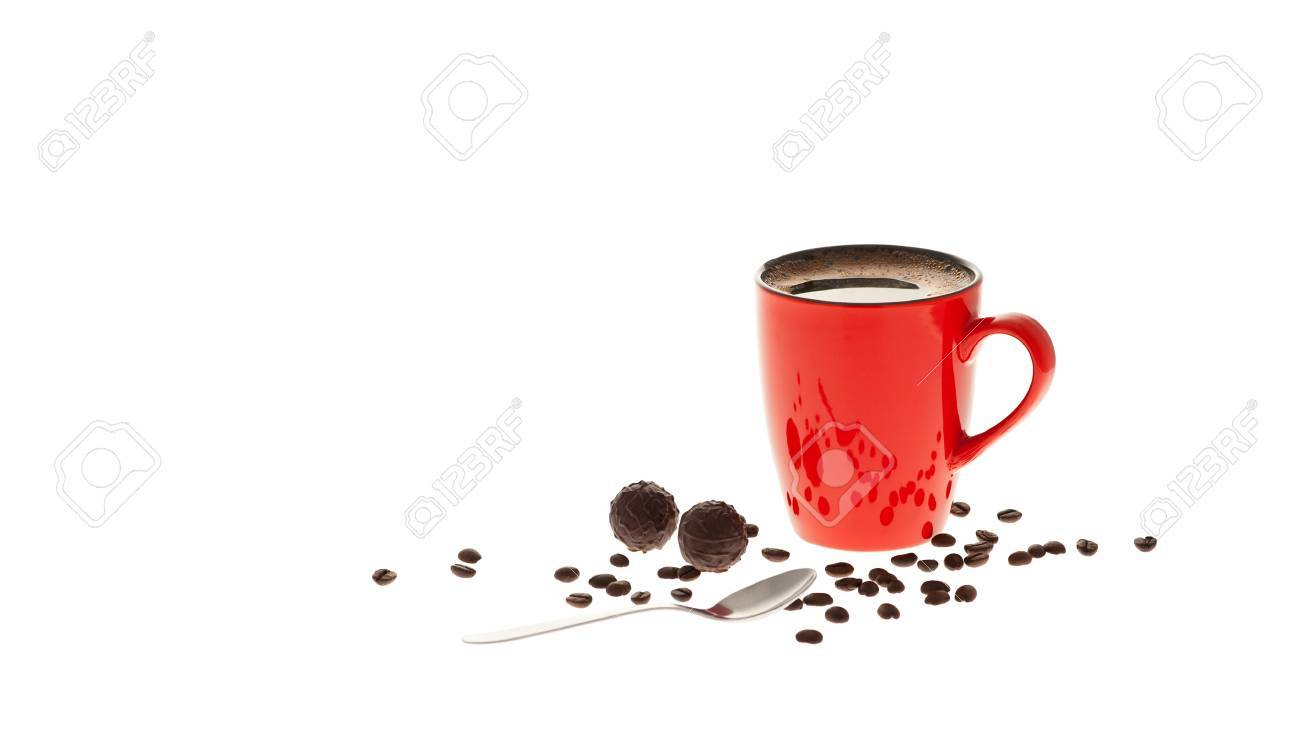Red cup of coffee, coffee beans, chocolate and spoon isolated on white background Stock Photo - 11066804