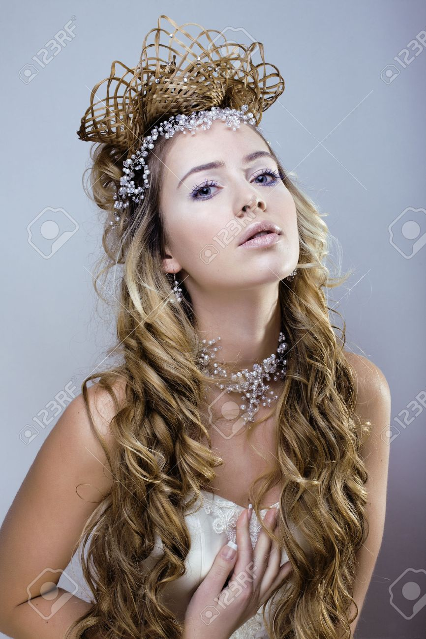 Beauty Young Snow Queen With Hair Crown On Her Head Winter Princess