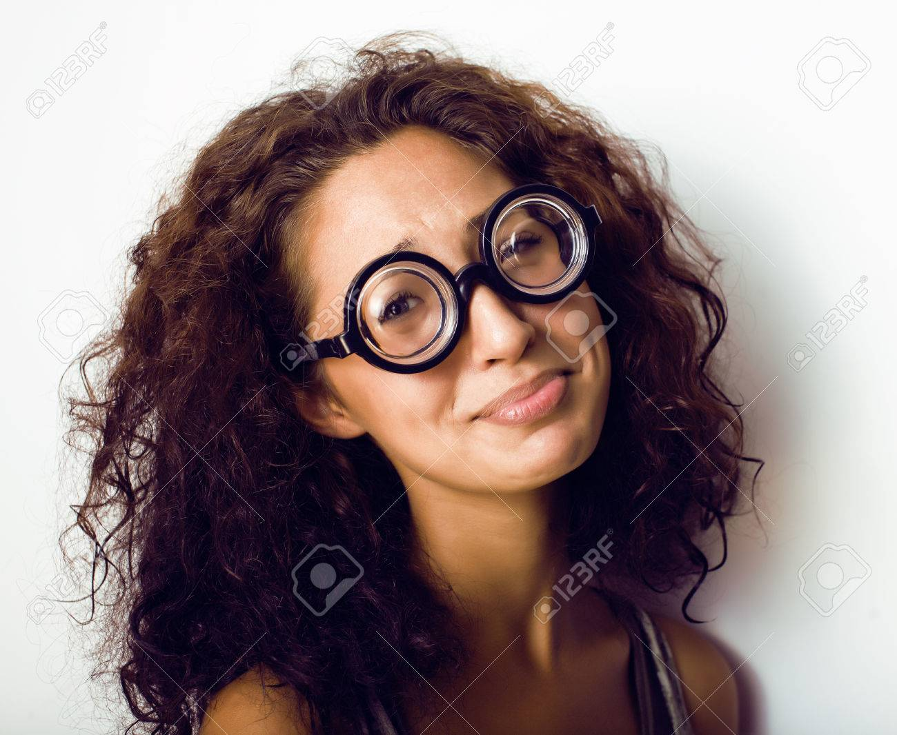 Bookworm Cute Young Woman In Glasses Curly Hair Teenage Girl