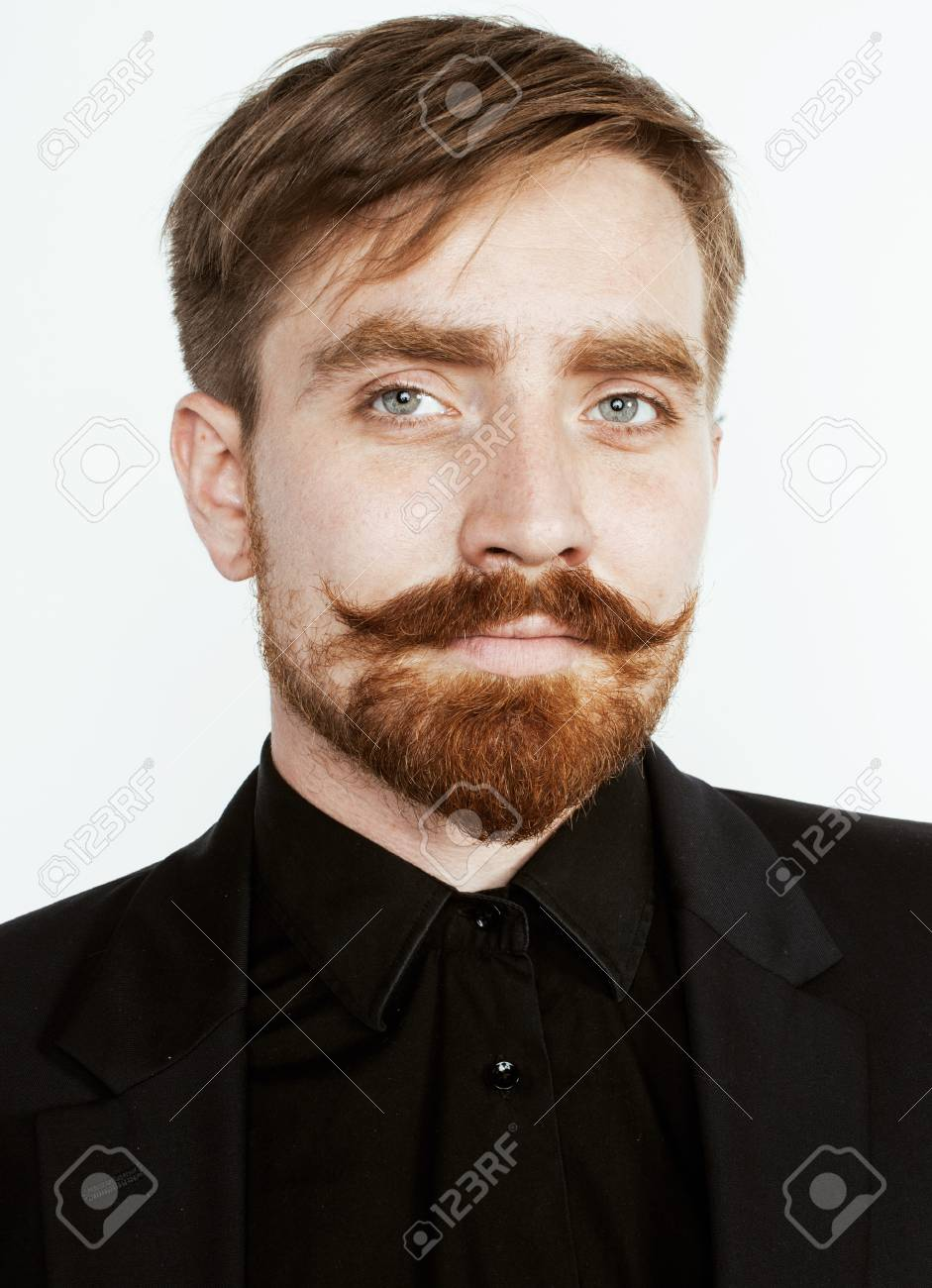 Young Red Hair Man With Beard And Mustache In Black Suit On White Stock Photo Picture And Royalty Free Image Image 62319797
