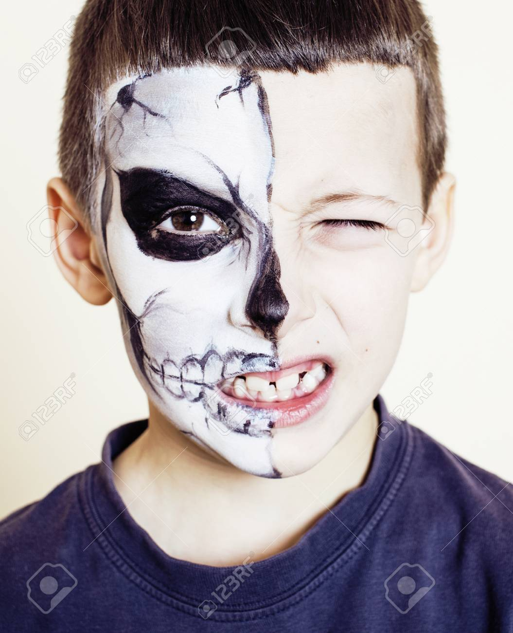 Little Cute Boy With Facepaint Like Skeleton To Celebrate Halloween Stock Photo Picture And Royalty Free Image Image 64610275