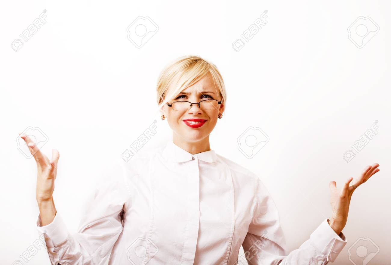 Very Emotional Businesswoman In Glasses Blond Hair On White