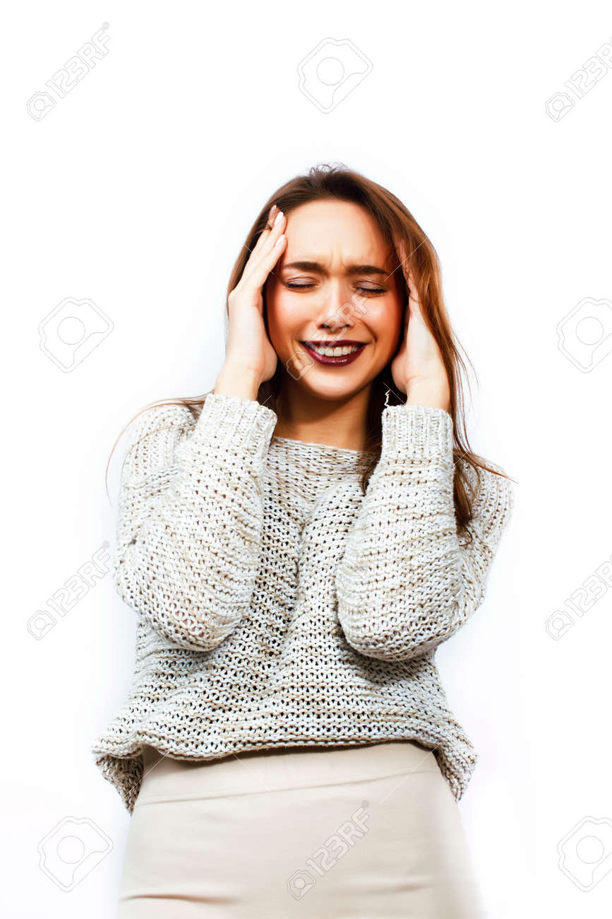 young pretty teenage hipster girl posing emotional happy smiling on white background, lifestyle people concept close up - 121255013