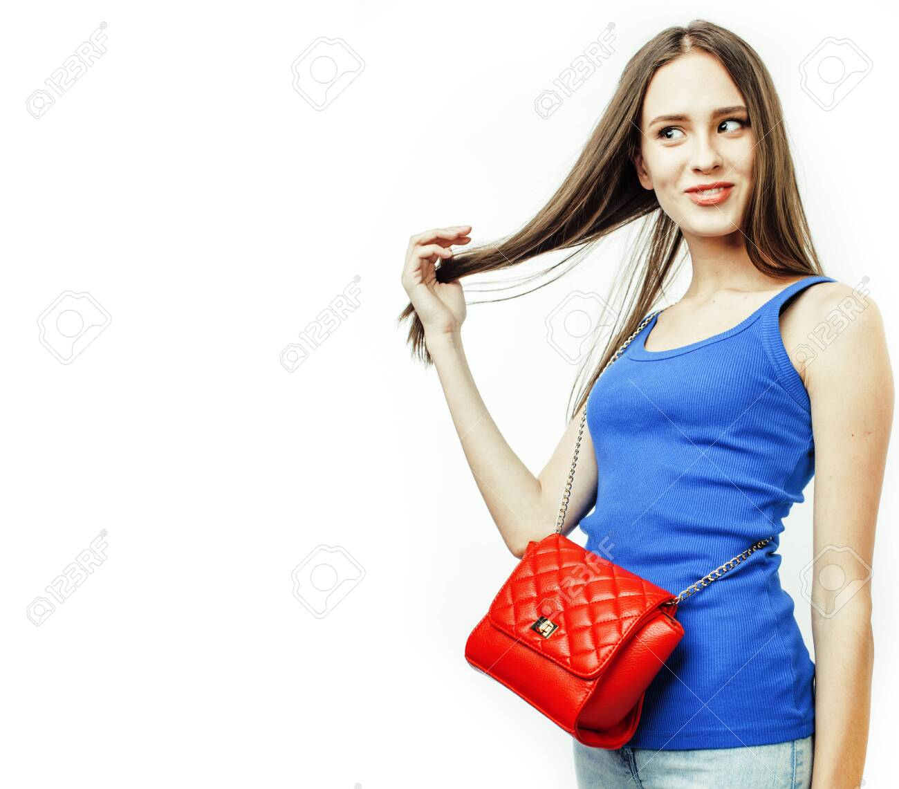 young pretty stylish hipster girl posing emotional isolated on white background happy smiling cool smile, lifestyle people concept close up - 131304374