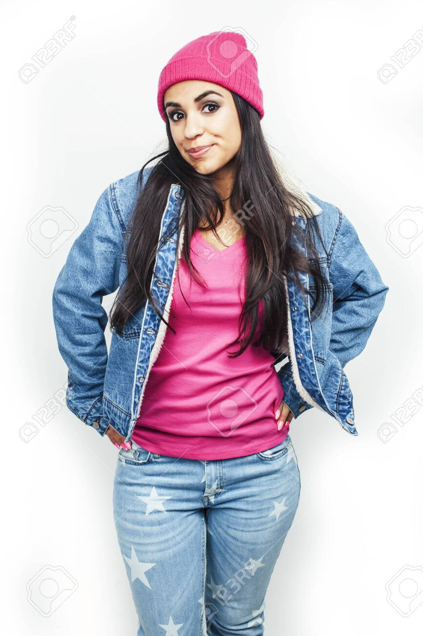 young happy smiling latin american teenage girl emotional posing on white background, lifestyle people concept - 144905742